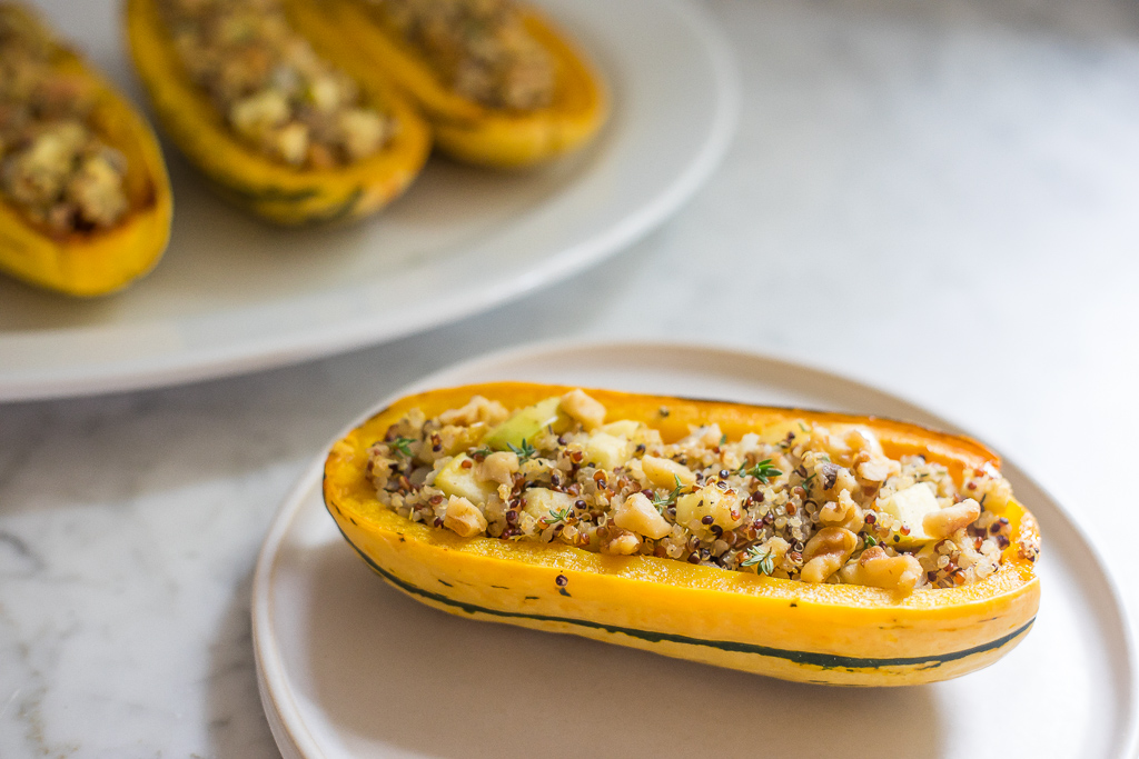 Apple and Quinoa Stuffed Delicata Squash  (v, gf)
