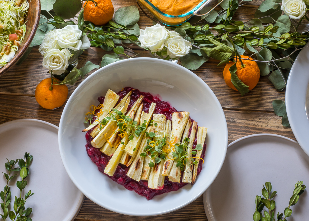 Roasted Parsnips with Cranberry Sauce