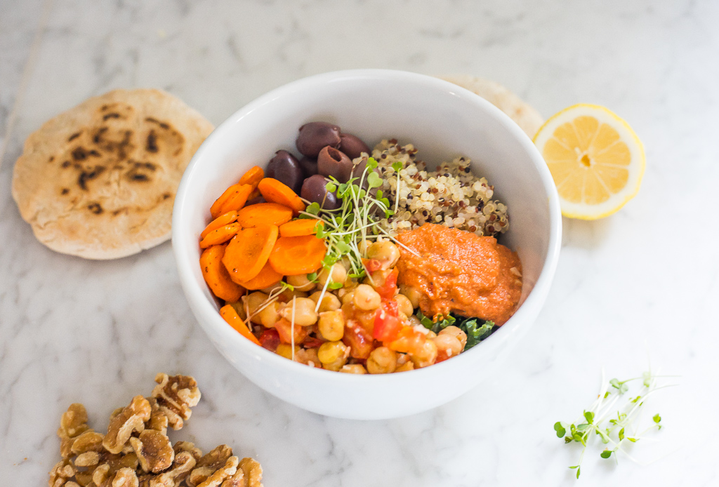 Chickpea and Quinoa Power Bowl with Red Pepper Dressing (v, gf)