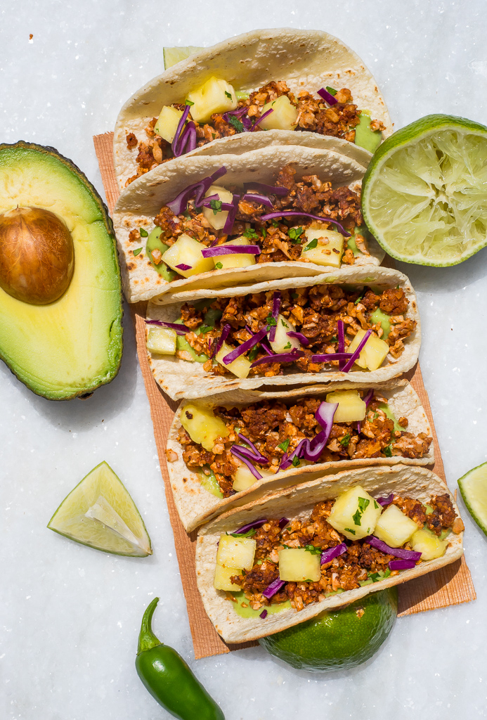Cauliflower-Walnut Tacos with Avocado Crema (GF, V)
