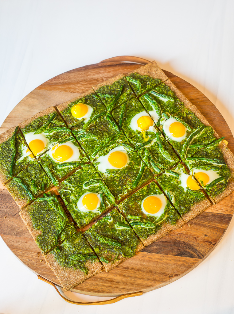 Quail Egg, Pesto and Asparagus Pizza (GF, P, DF)