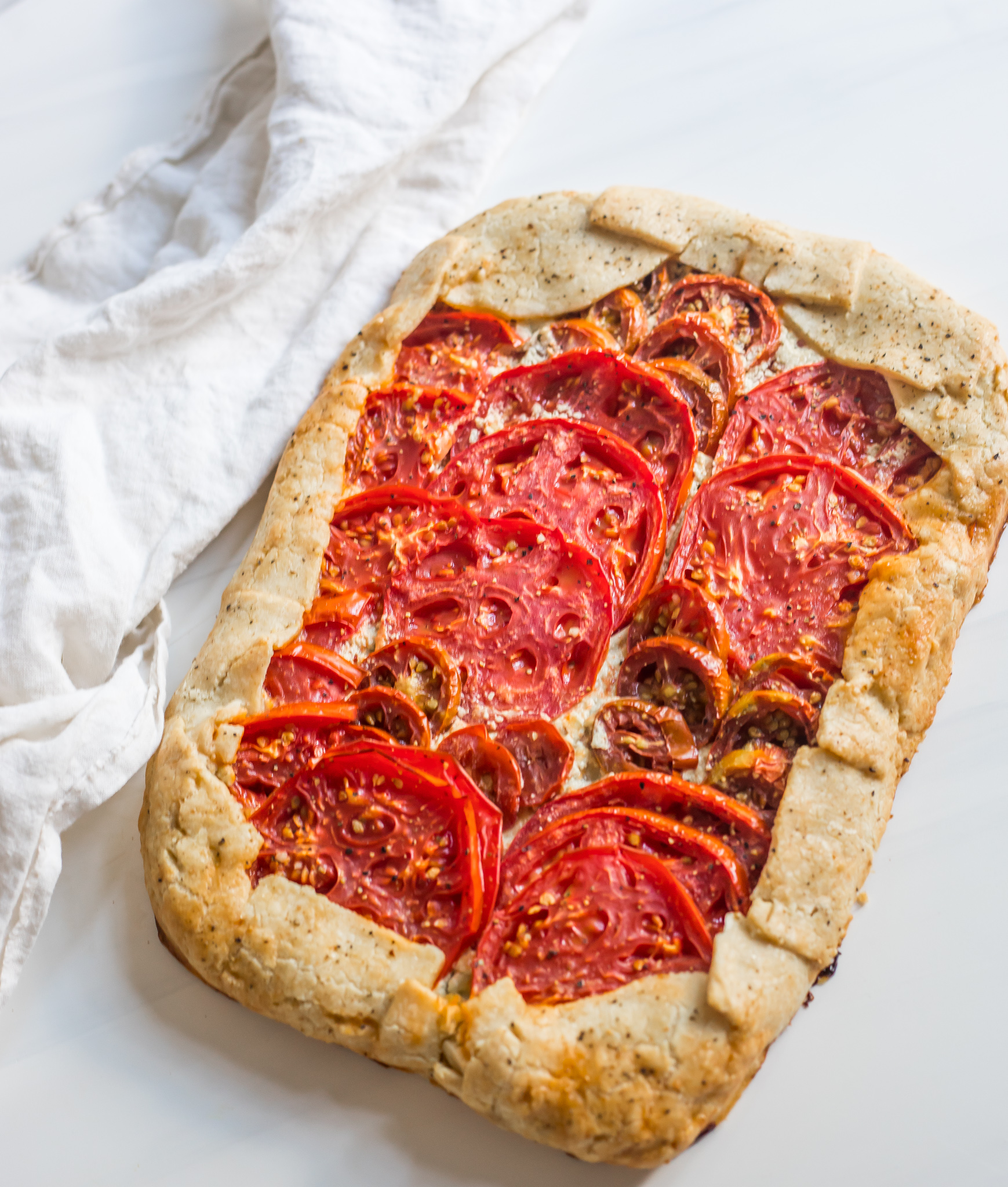 Tomato Pie with Cornmeal Crust (GF, DF, V*)